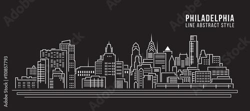 Fotografie, Obraz Cityscape Building Line art Vector Illustration design - Philadelphia city