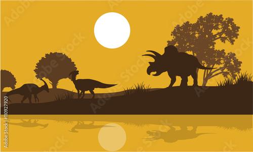 Платно Silhouette of triceratops and parasaurolophus