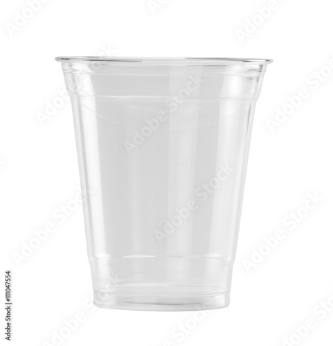 Plastic Glass on white background with clipping path
