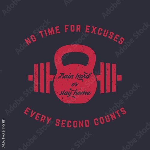 Tableau sur Toile Entraînez-vous dur, conception de t-shirt vintage gym, impression, kettlebell et