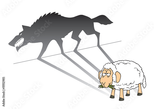 Canvas Print illustration of a sheep with wolf shadow