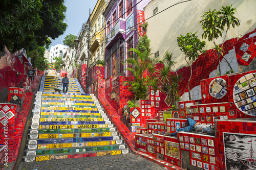 An early morning view of the Escadaria Selarón (Selaron Steps), a tourist attraction adjacent to the popular nightlife area of Lapa in Rio de Janeiro, Brazil