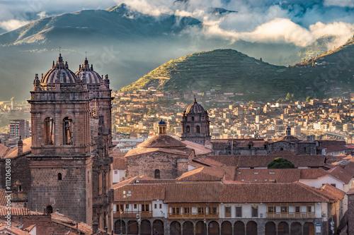 Wallpaper Mural Morning sun rising at Plaza de armas, Cusco, City