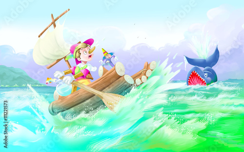 Stampa su Tela Whale Engulfing Pinocchio