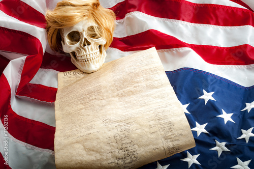 Wallpaper Mural A human skull wearing a ginger wig on top of the US constitution and the upside