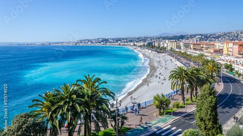 Obraz na plátně Nice visit card view on the bay of Angels, France