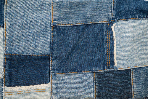 Photo denim patchwork textile pattern