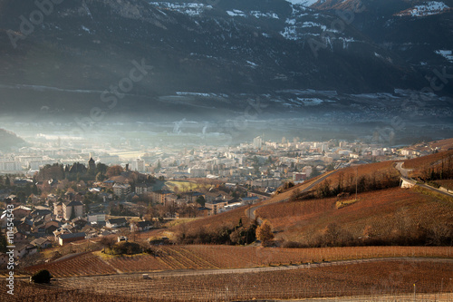 Fotografia Views of Sierre and the Alps from Crans-Montana, Switzerland