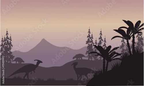 фотография parasaurolophus in hills scenery silhouette