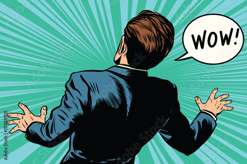 Obraz na płótnie wow reaction man fear retro comic pop art