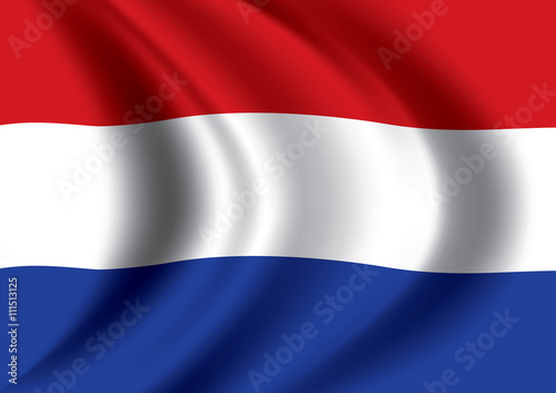 Wallpaper Mural Vector Dutch flag blowing in the wind. Netherlands flag.