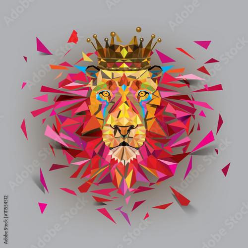 Geometric lion low ploygon