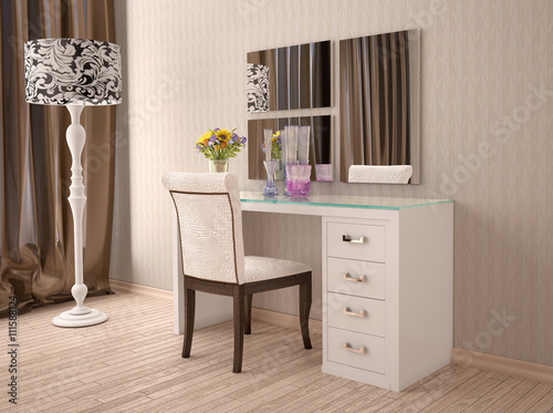 3d illustration of white dressing table with a mirror in modern Fototapeta
