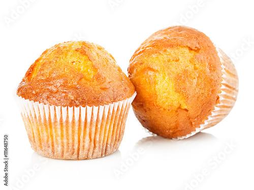 Carta da parati Delicious muffins close-up isolated on white background.