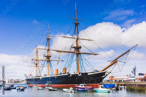 Canvas Print Historic vessel at Portsmouth's docks