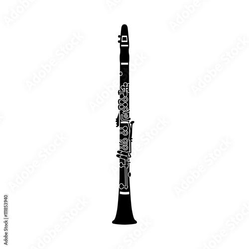Canvas-taulu Clarinet icon, black simple style