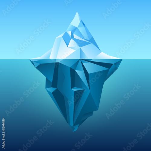 Iceberg in blue ocean vector background Fototapet