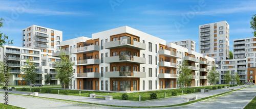Obraz na plátne Modern residential building and street