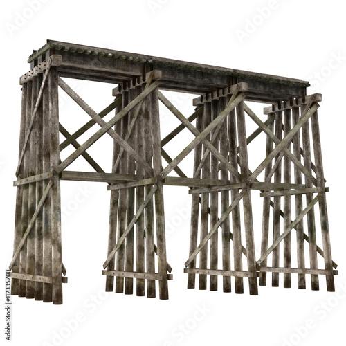 Photo Railroad timber trestle isolated on white 3D Illustration