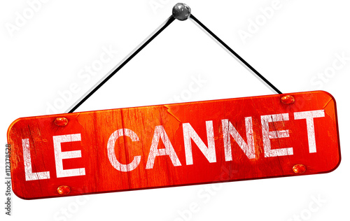 Canvas Print le cannet, 3D rendering, a red hanging sign