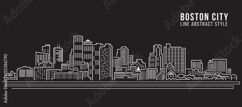 Fotografie, Tablou Cityscape Building Line art Vector Illustration design - Boston City