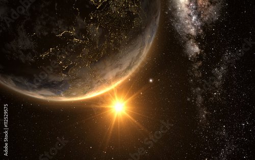 Canvas Print sunrise view of earth from space with milky way galaxy, 3d rendering