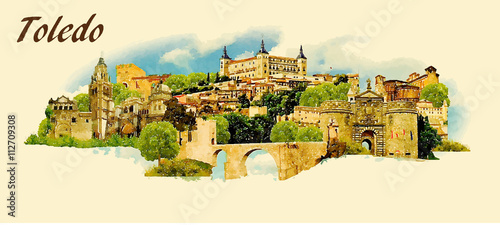 vector panoramic water color illustration of TOLEDO city