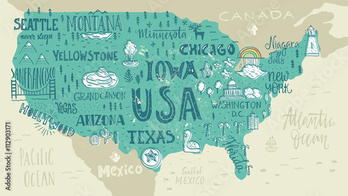 Canvas Print Map of USA