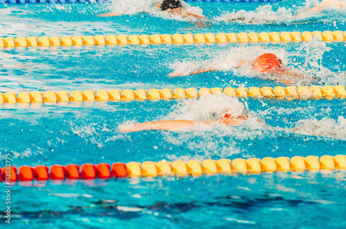 Canvas Print Swimming competition, freestyle race