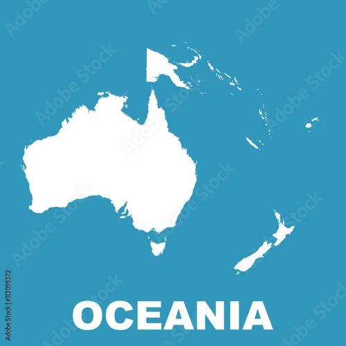 Canvas Print Australia and Oceania map. Flat vector