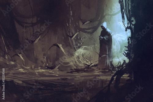 Fotografie, Tablou dark cloak in mysterious forest,wizard,sorcerer,illustration
