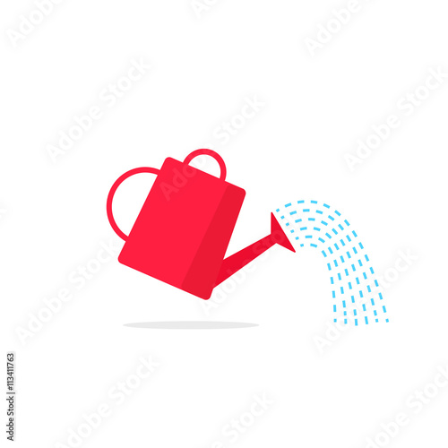 Obraz na plátně Watering can icon vector with poiring water flow
