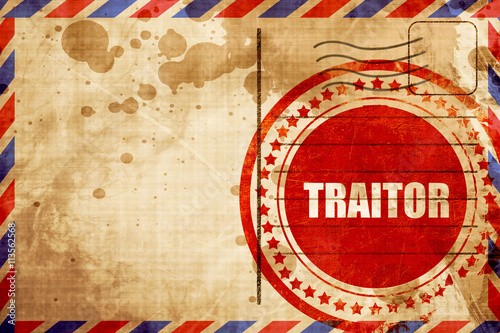Canvas Print traitor, red grunge stamp on an airmail background