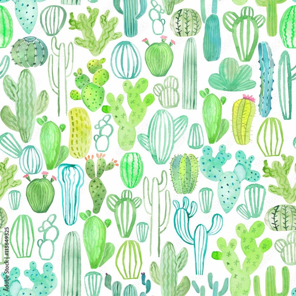 Kaktus akwarela bezszwowe wzór <span>plik: #113649325 | autor: gala.draw</span>