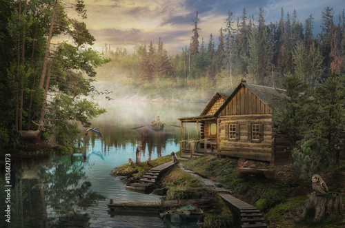 Canvas-taulu Forester's Cabin