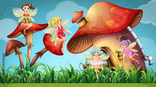 Fairies flying in the mushroom garden