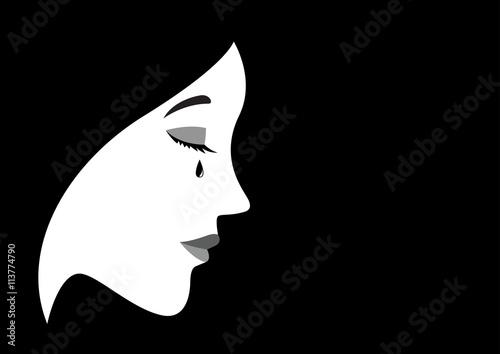 Illustration of a crying woman Fototapeta