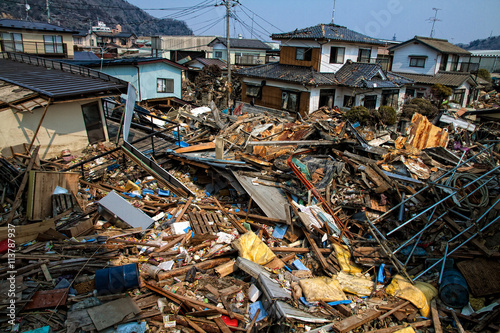Foto The consequences of the devastating tsunami.