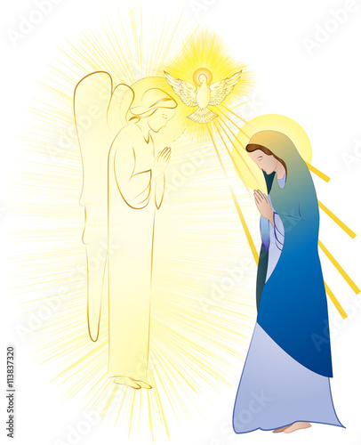 Fototapeta Annunciation to the Blessed Virgin Mary, conception by the Holy Spirit