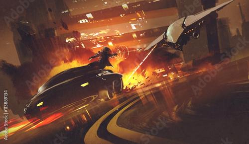 pościg scena statku kosmicznego goniąc futurystyczny samochód na autostradzie, ilustracja