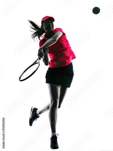 Canvas Print woman tennis player sadness silhouette