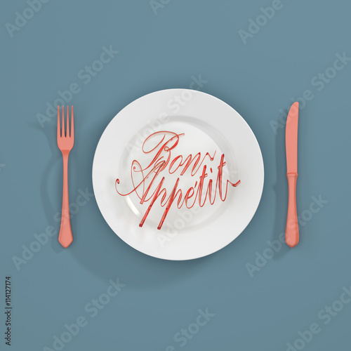 Fényképezés Bon apetit Quote Typographical Background