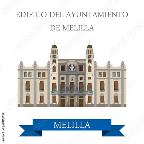 Edificio del Ayuntamiento de Melilla. Flat vector illustration