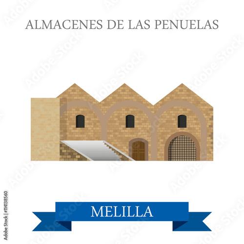 Almacenes de Las Penuelas en Melilla. Flat cartoon vector