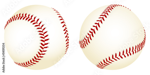 Canvas Print Vector illustration of baseballs from two different angles.