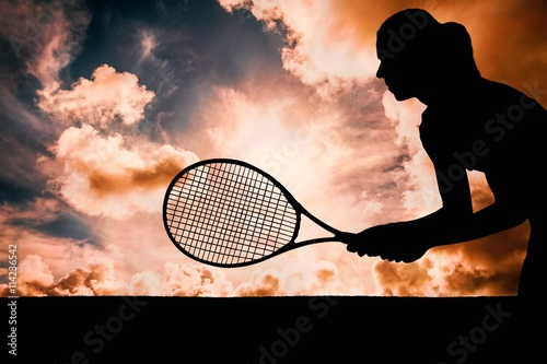 Canvas Print Composite image of tennis player playing tennis with a racket