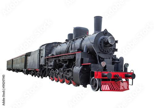 Obraz na plátně Steam locomotive with wagons
