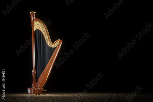 Canvas Print Harp aged on white 3D rendering