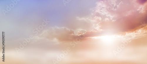 Fényképezés Dreamy Romantic Sky scape - beautiful wide peach and dusky pale blue sky and clo