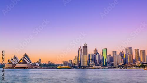 Canvas Print Sydney city skyline at sunrise with vivid coloured sky.